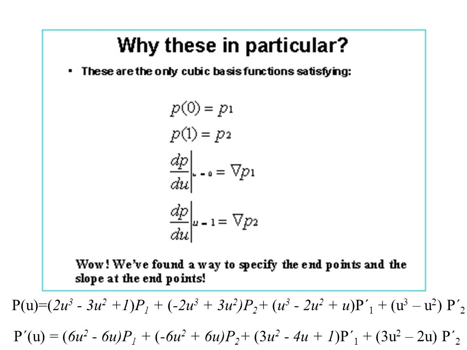 P(u)=(2u3 - 3u2 +1)P1 + (-2u3 + 3u2)P2+ (u3 - 2u2 + u)P´1 + (u3 – u2) P´2