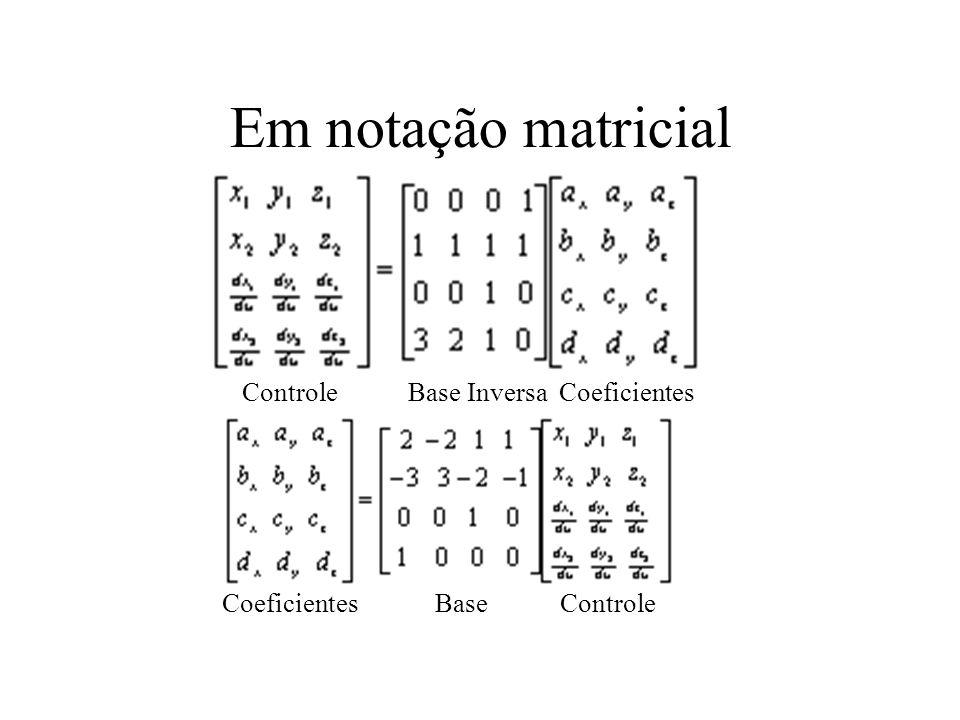 Em notação matricial Controle Base Inversa Coeficientes