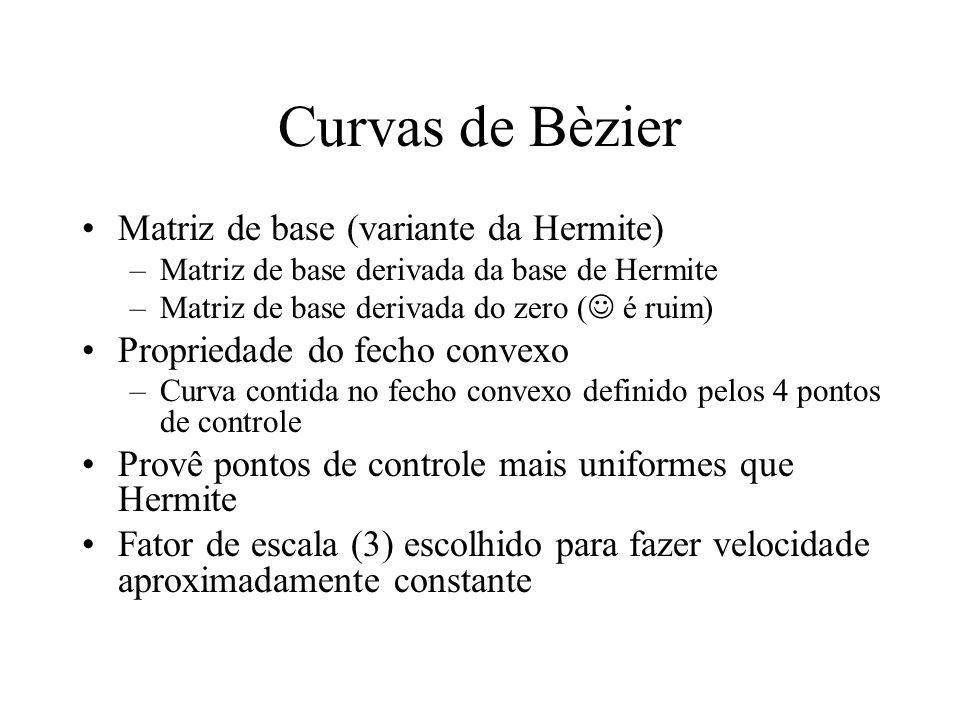 Curvas de Bèzier Matriz de base (variante da Hermite)