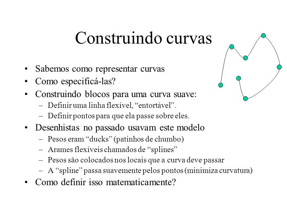 Construindo curvas Sabemos como representar curvas