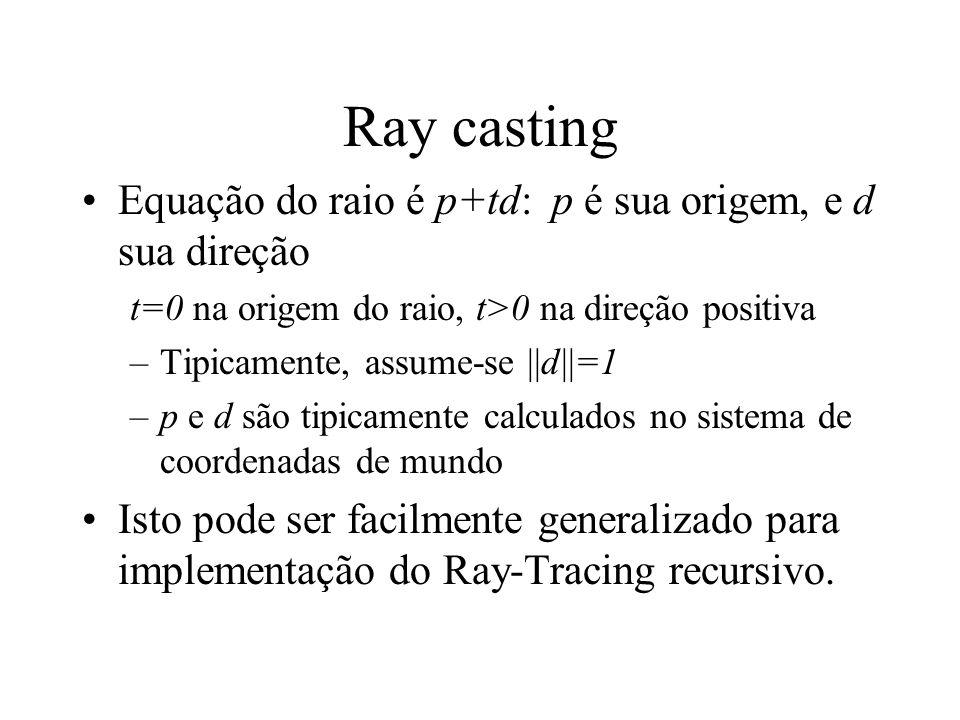 Ray casting Equação do raio é p+td: p é sua origem, e d sua direção
