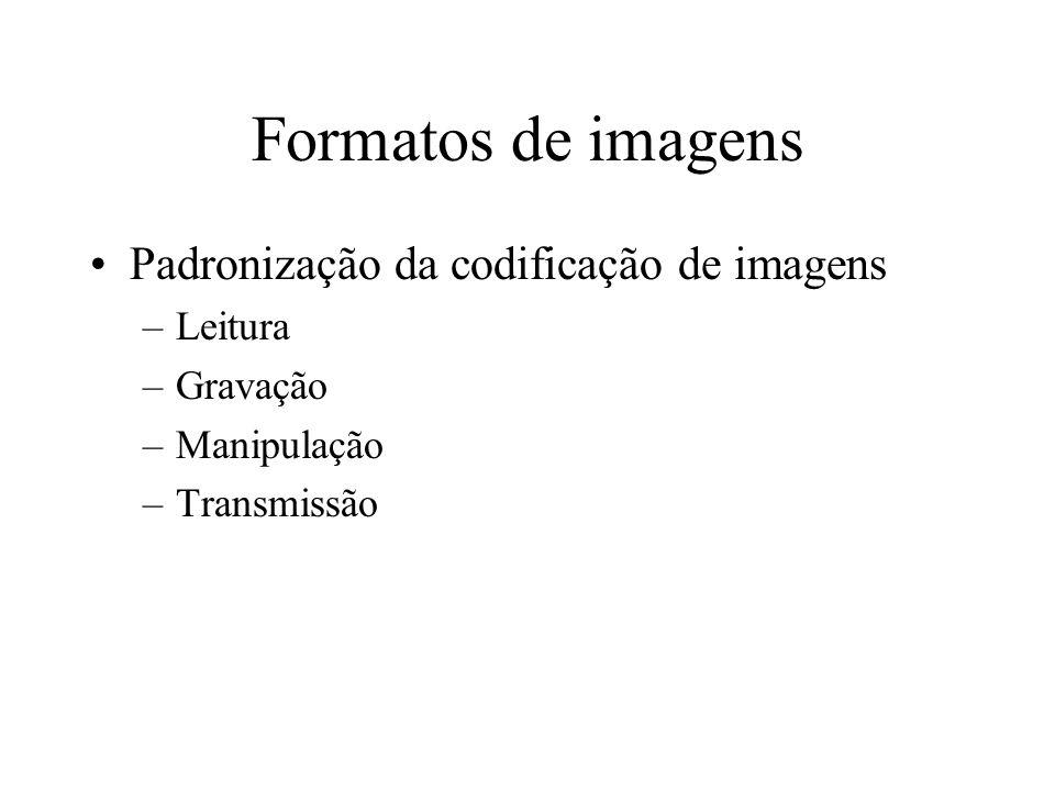 Formatos de imagens Padronização da codificação de imagens Leitura