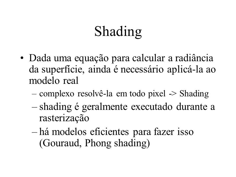 Shading Dada uma equação para calcular a radiância da superfície, ainda é necessário aplicá-la ao modelo real.