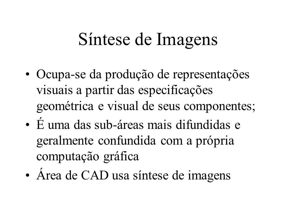 Síntese de Imagens Ocupa-se da produção de representações visuais a partir das especificações geométrica e visual de seus componentes;
