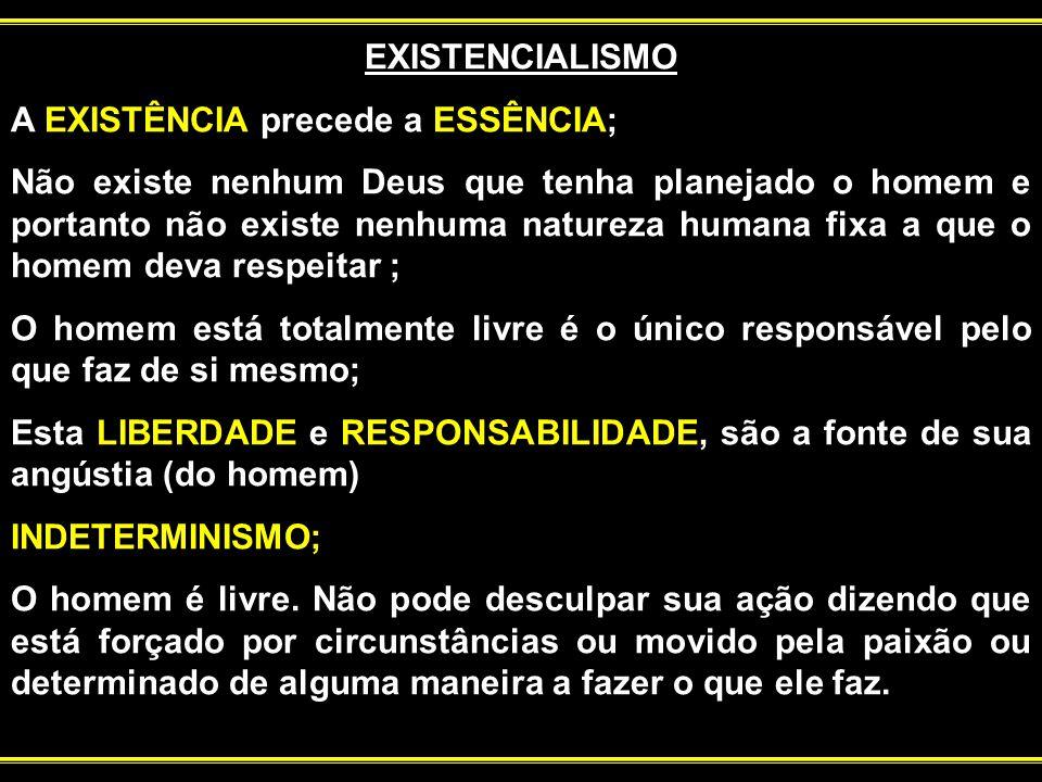 EXISTENCIALISMO A EXISTÊNCIA precede a ESSÊNCIA;