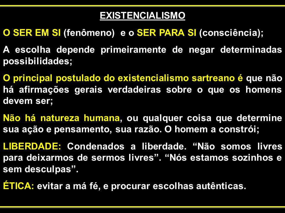 EXISTENCIALISMO O SER EM SI (fenômeno) e o SER PARA SI (consciência); A escolha depende primeiramente de negar determinadas possibilidades;