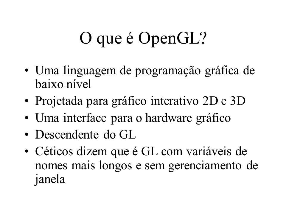 O que é OpenGL Uma linguagem de programação gráfica de baixo nível