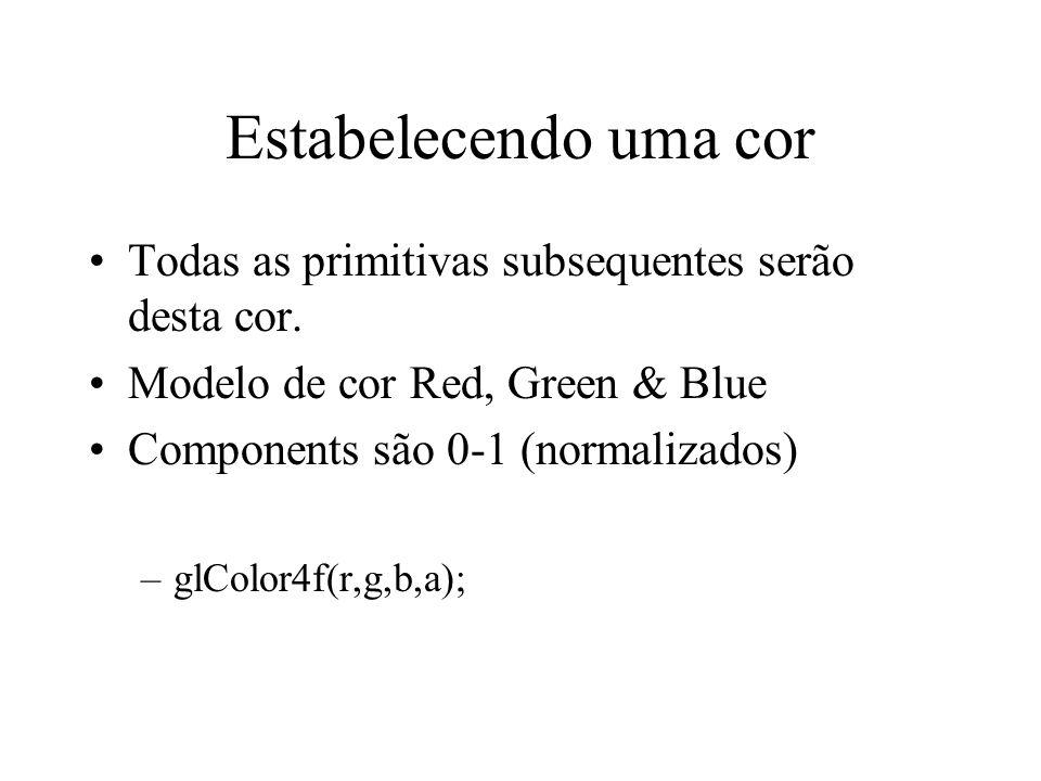 Estabelecendo uma cor Todas as primitivas subsequentes serão desta cor. Modelo de cor Red, Green & Blue.