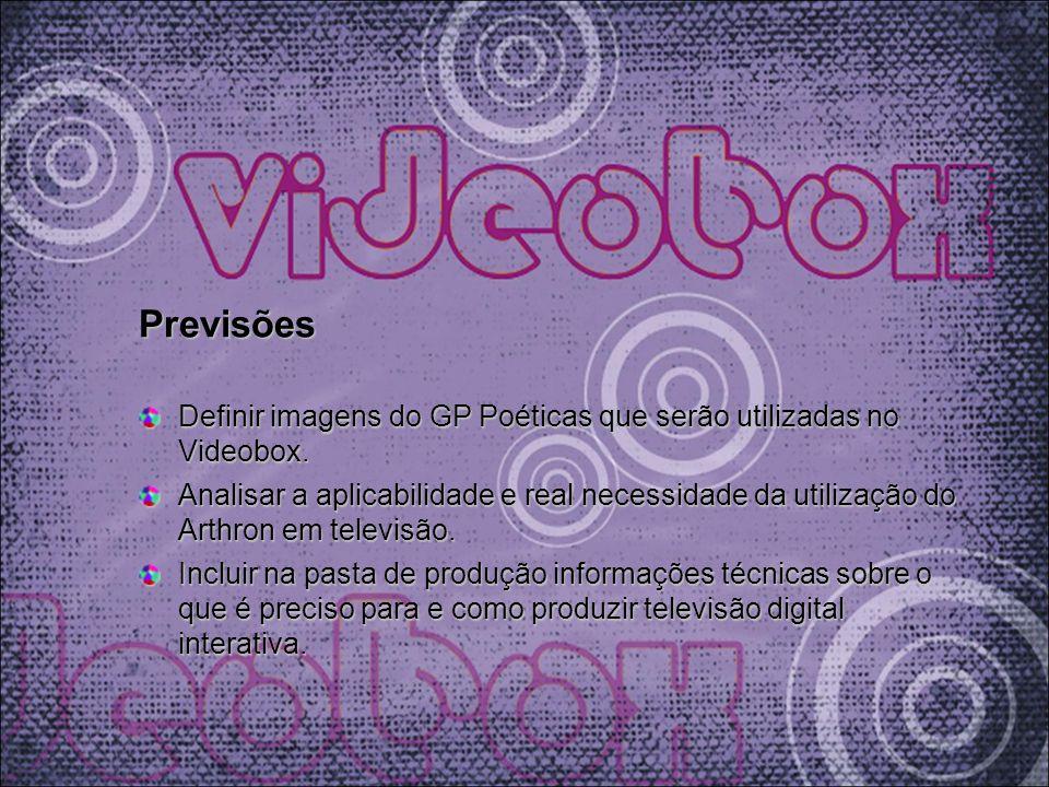 Previsões Definir imagens do GP Poéticas que serão utilizadas no Videobox.