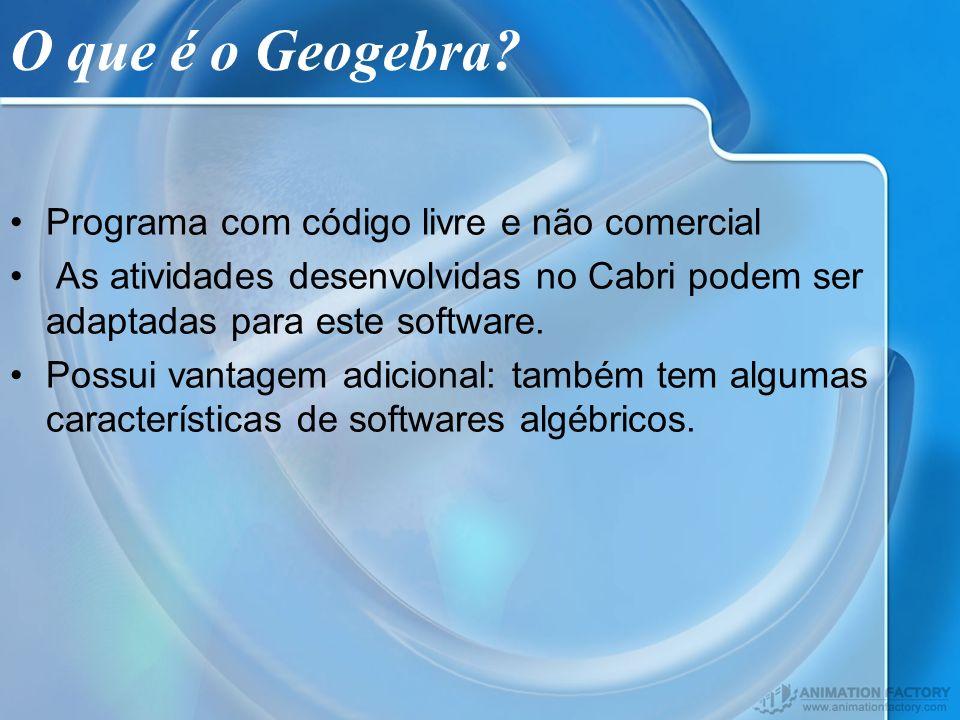O que é o Geogebra Programa com código livre e não comercial