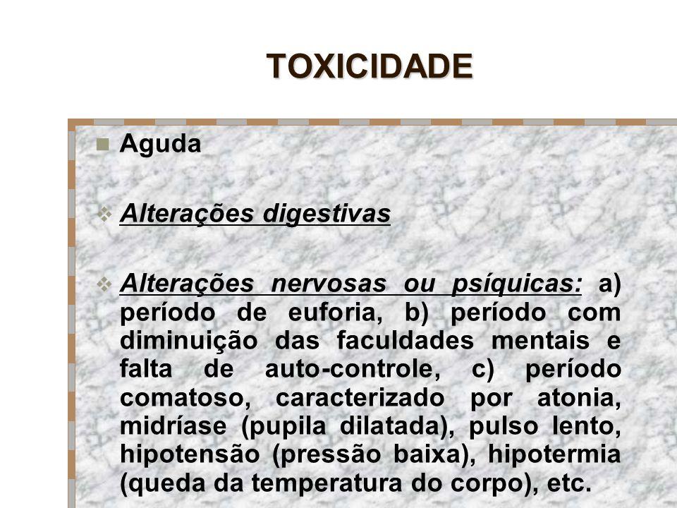 TOXICIDADE Aguda Alterações digestivas