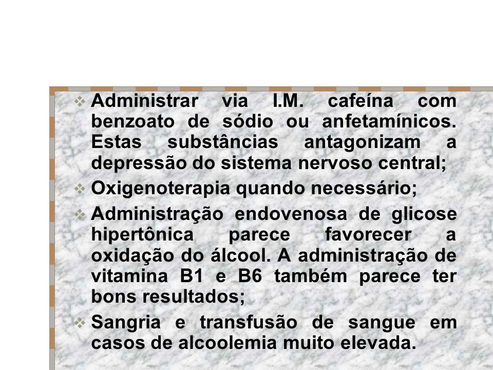 Administrar via I. M. cafeína com benzoato de sódio ou anfetamínicos