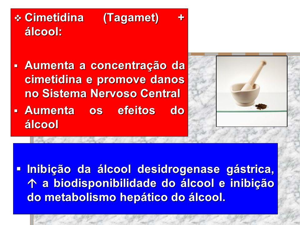 Cimetidina (Tagamet) + álcool: