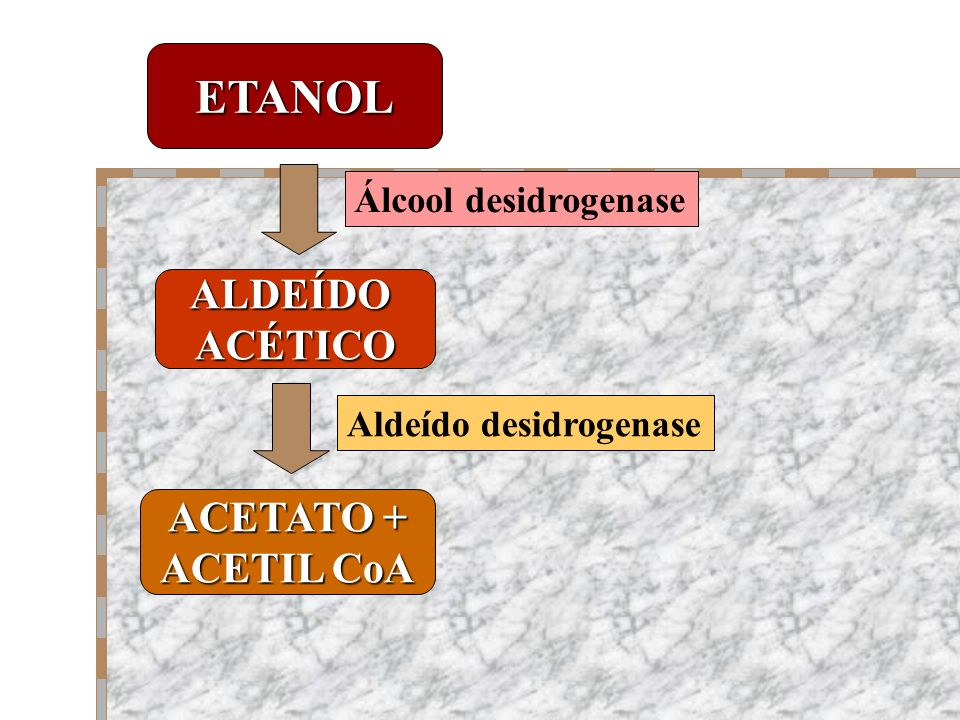 ETANOL ALDEÍDO ACÉTICO ACETATO + ACETIL CoA Álcool desidrogenase