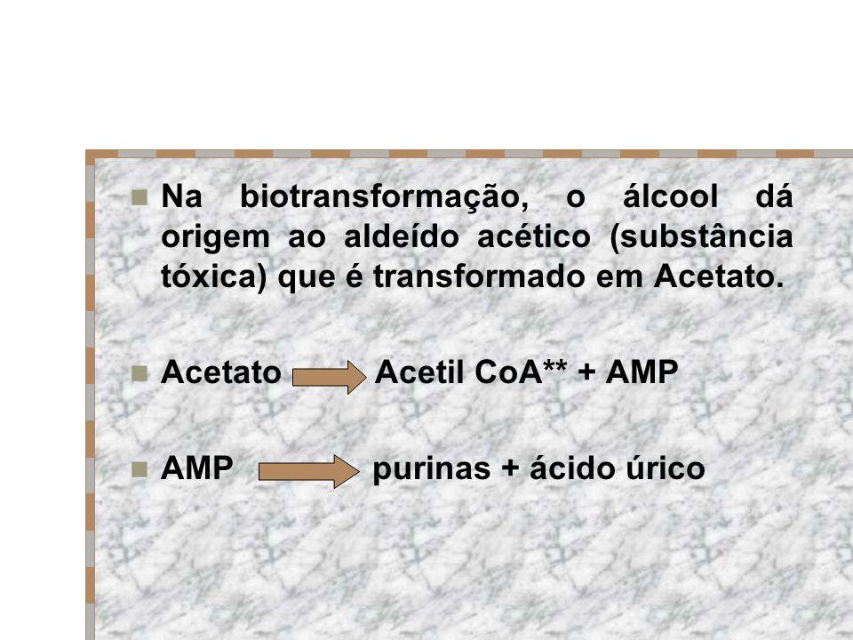 Na biotransformação, o álcool dá origem ao aldeído acético (substância tóxica) que é transformado em Acetato.