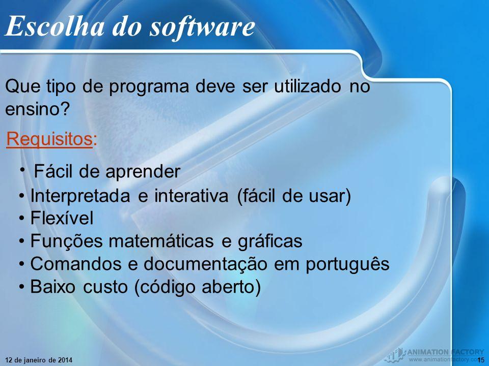 Escolha do software Fácil de aprender