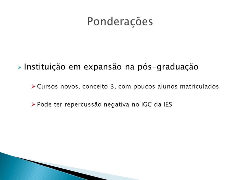 Ponderações Instituição em expansão na pós-graduação