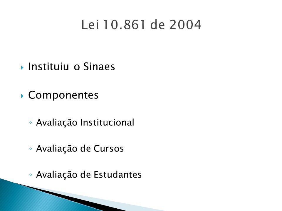 Lei 10.861 de 2004 Instituiu o Sinaes Componentes