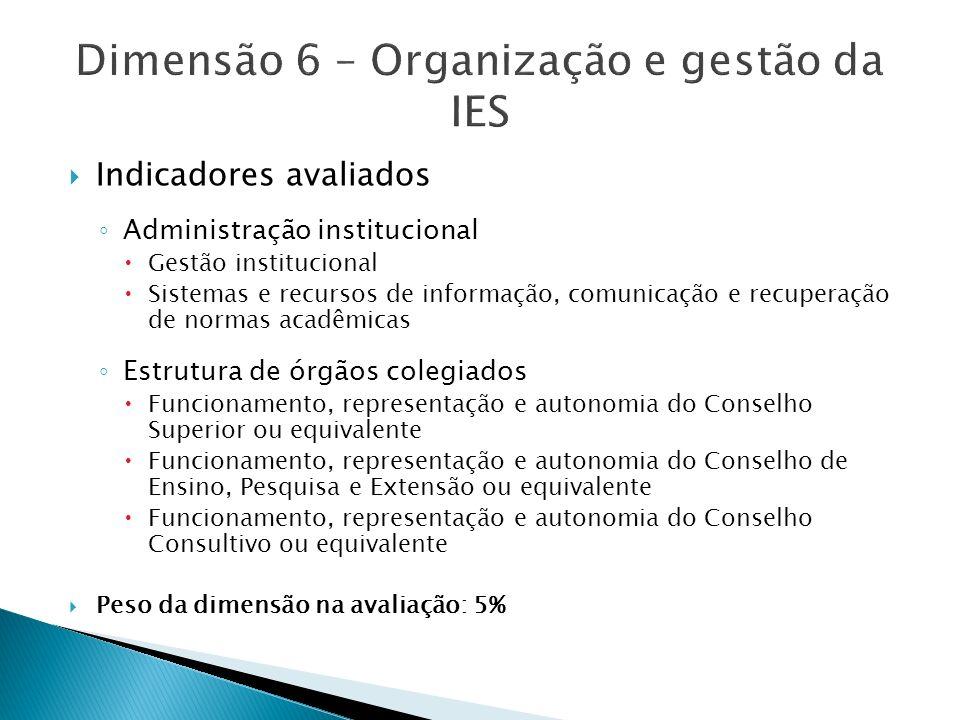 Dimensão 6 – Organização e gestão da IES
