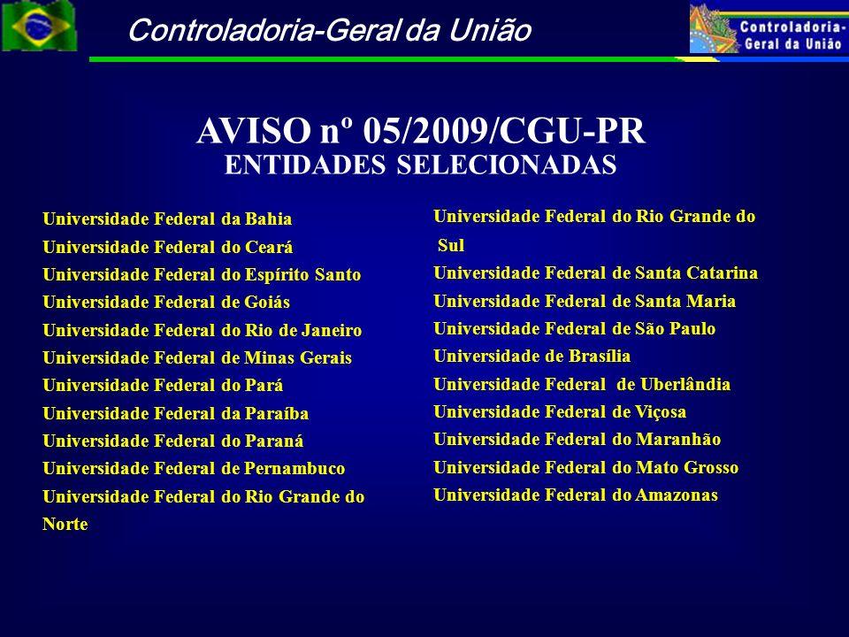 AVISO nº 05/2009/CGU-PR ENTIDADES SELECIONADAS