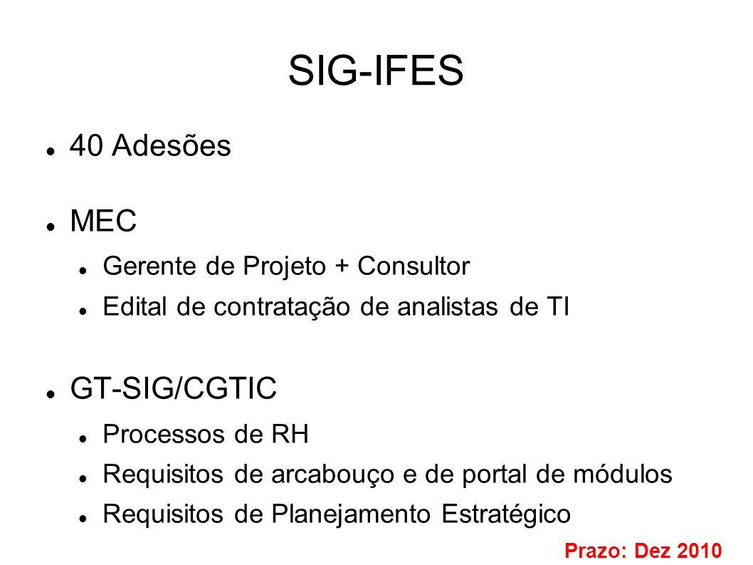 SIG-IFES 40 Adesões MEC GT-SIG/CGTIC Gerente de Projeto + Consultor