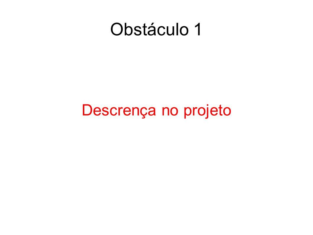 Descrença no projeto Obstáculo 1