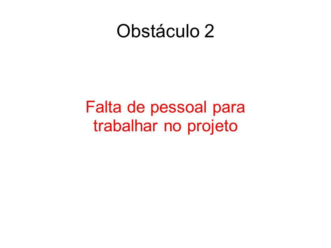 Falta de pessoal para trabalhar no projeto Obstáculo 2
