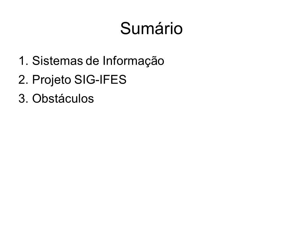 Sumário Sistemas de Informação Projeto SIG-IFES Obstáculos