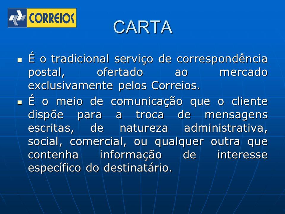CARTA É o tradicional serviço de correspondência postal, ofertado ao mercado exclusivamente pelos Correios.