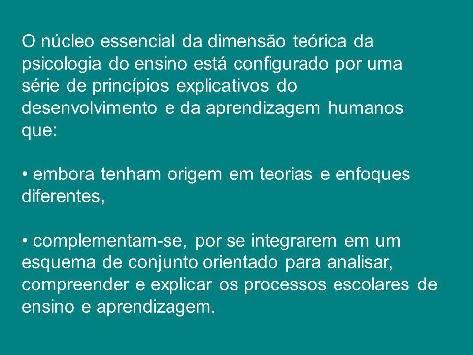 O núcleo essencial da dimensão teórica da psicologia do ensino está configurado por uma série de princípios explicativos do desenvolvimento e da aprendizagem humanos que: