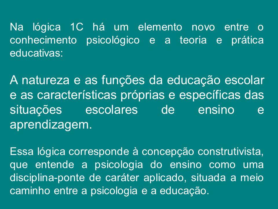 Na lógica 1C há um elemento novo entre o conhecimento psicológico e a teoria e prática educativas: