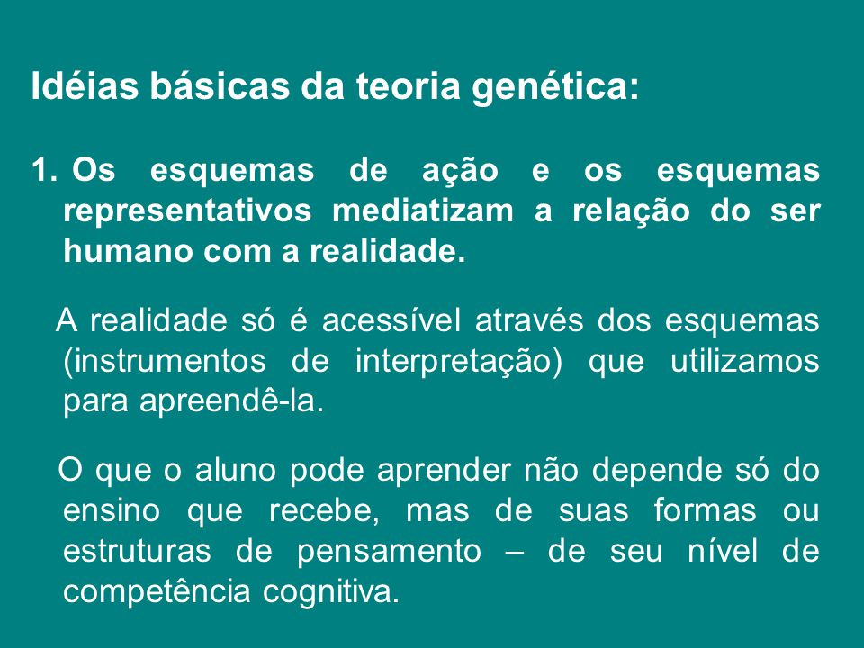 Idéias básicas da teoria genética: