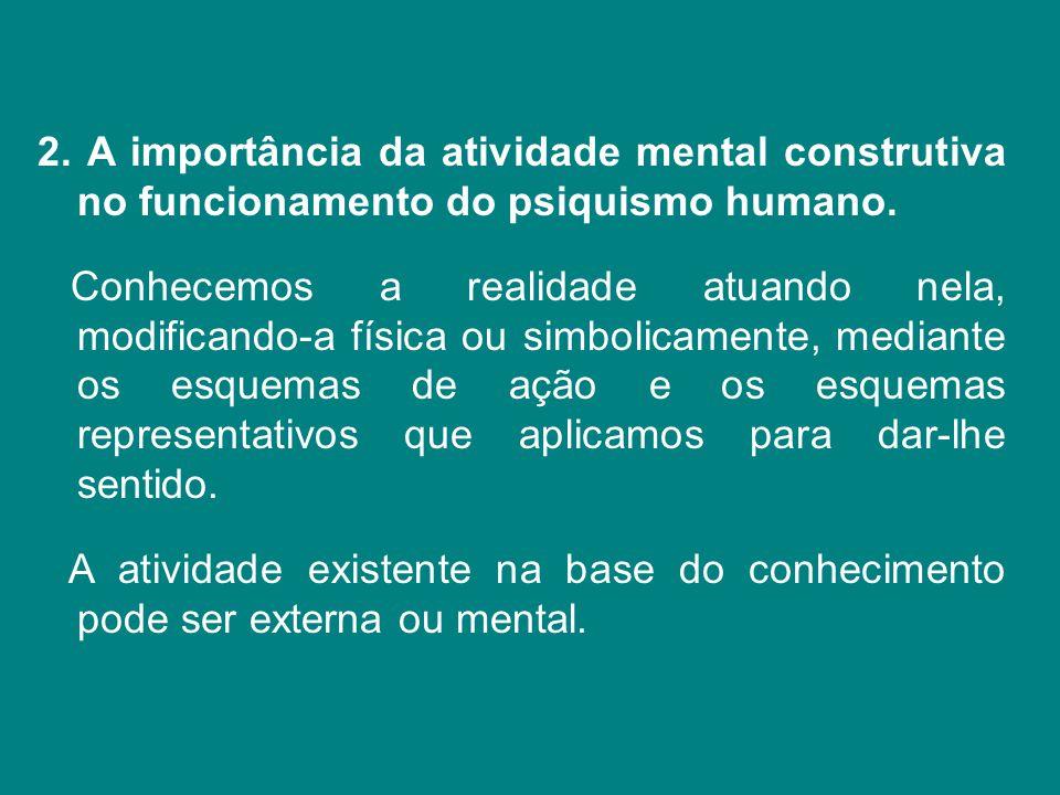 A importância da atividade mental construtiva no funcionamento do psiquismo humano.