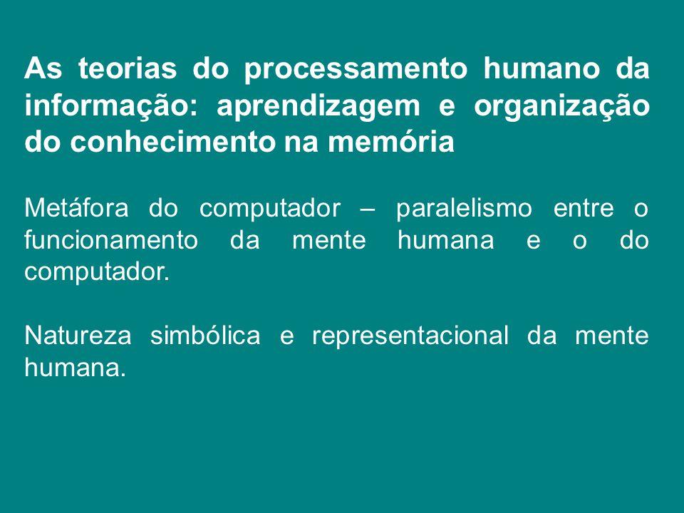 As teorias do processamento humano da informação: aprendizagem e organização do conhecimento na memória