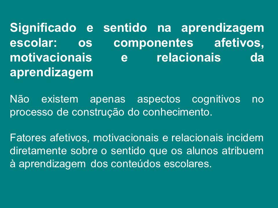 Significado e sentido na aprendizagem escolar: os componentes afetivos, motivacionais e relacionais da aprendizagem