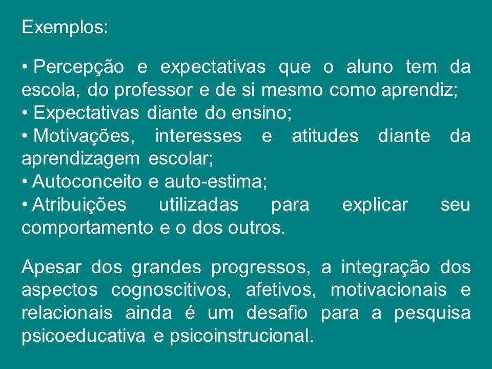 Exemplos: Percepção e expectativas que o aluno tem da escola, do professor e de si mesmo como aprendiz;