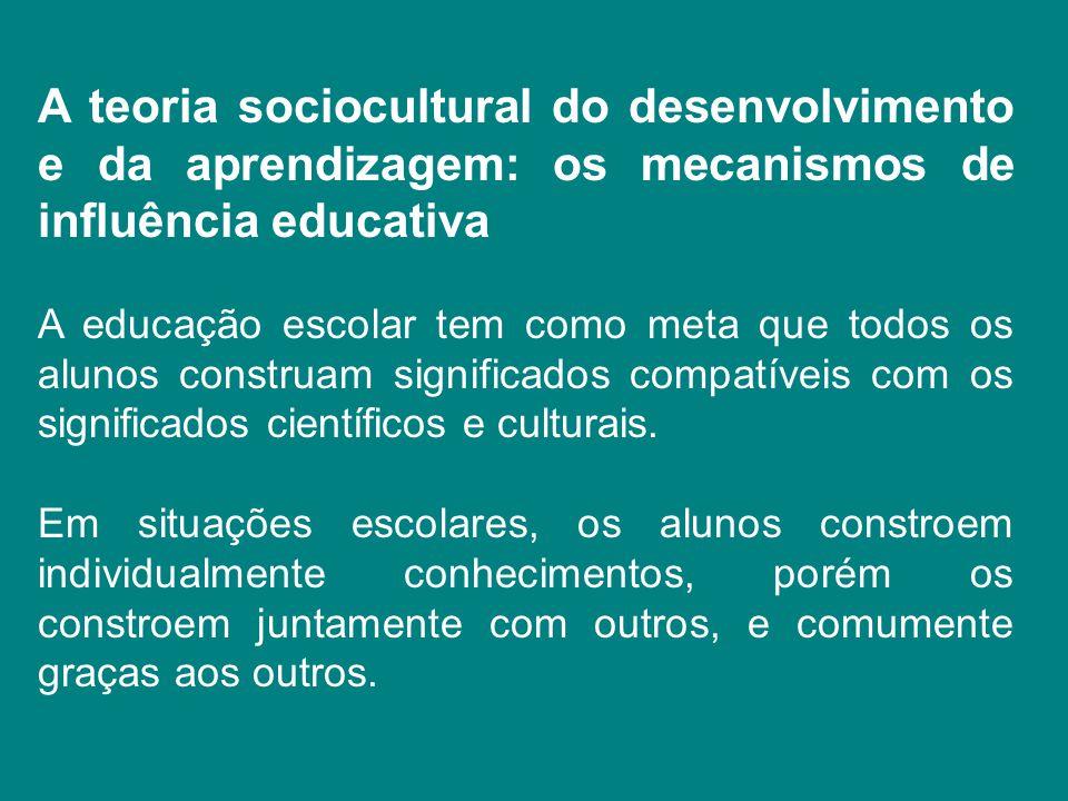 A teoria sociocultural do desenvolvimento e da aprendizagem: os mecanismos de influência educativa