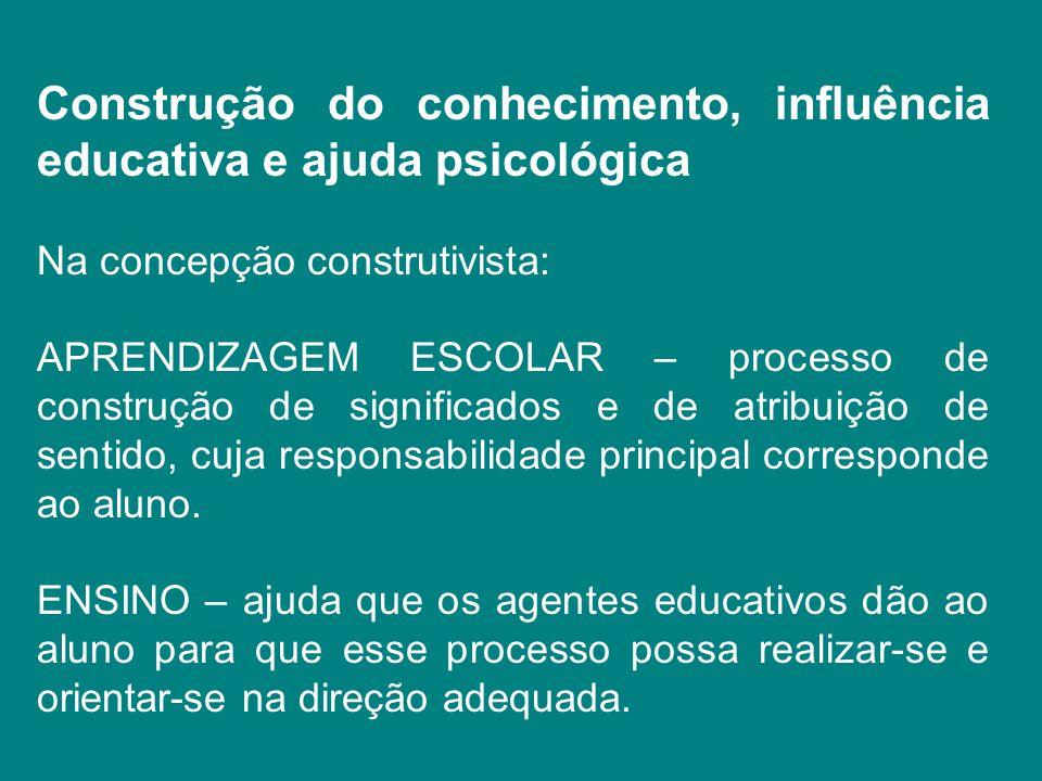 Construção do conhecimento, influência educativa e ajuda psicológica