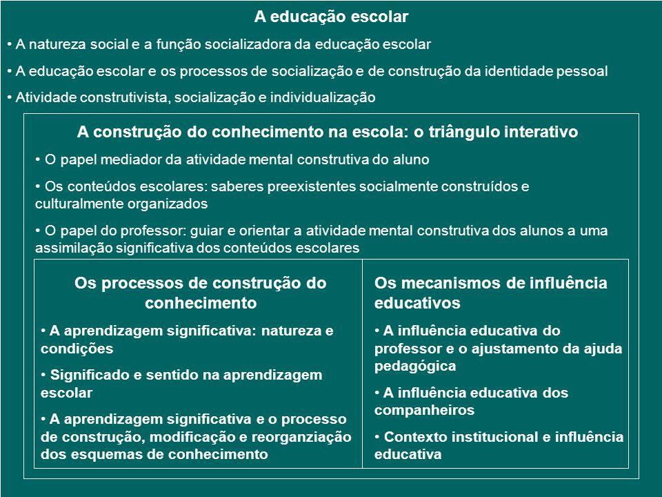 A construção do conhecimento na escola: o triângulo interativo