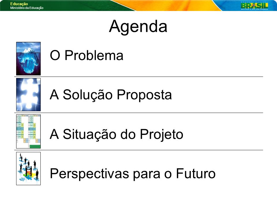 Agenda O Problema A Solução Proposta A Situação do Projeto