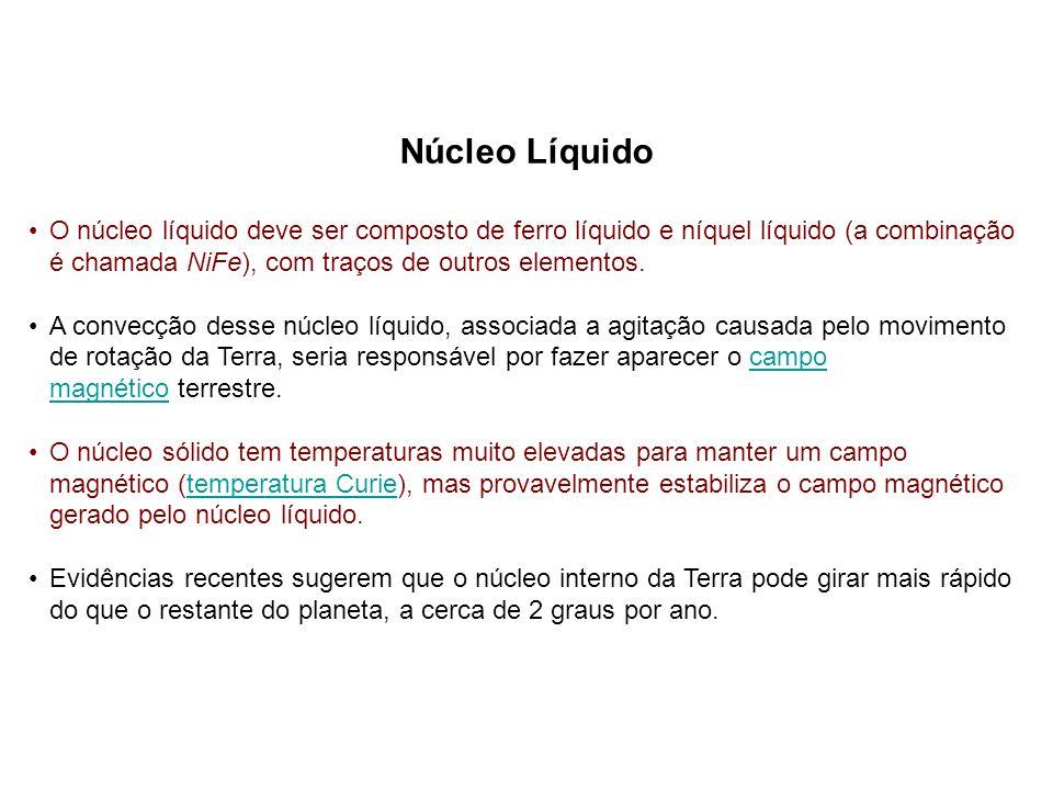 Núcleo Líquido O núcleo líquido deve ser composto de ferro líquido e níquel líquido (a combinação é chamada NiFe), com traços de outros elementos.
