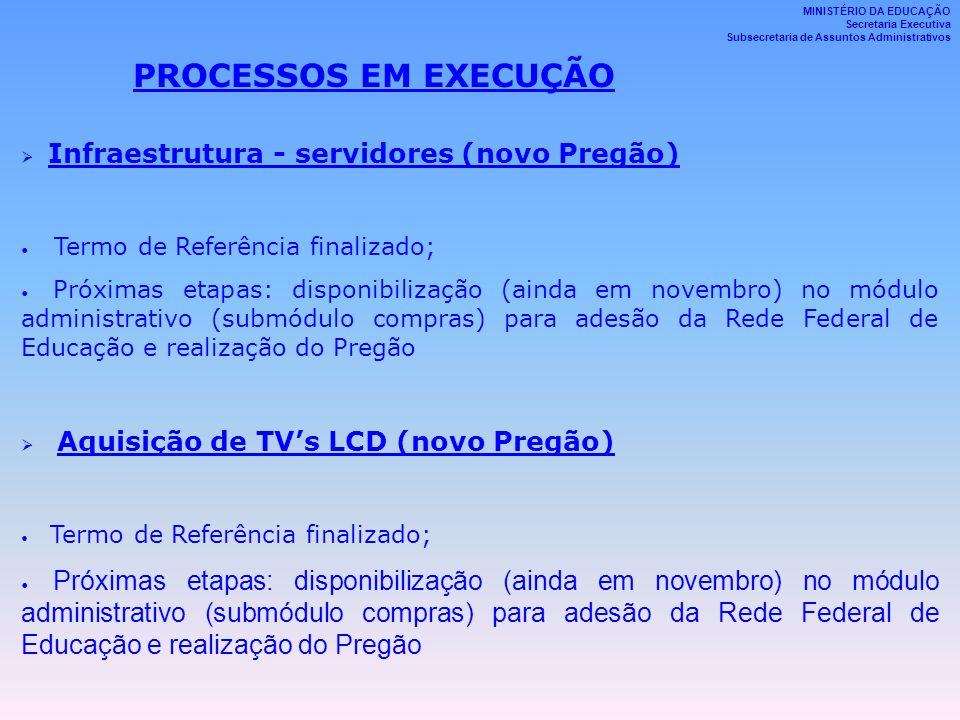 PROCESSOS EM EXECUÇÃO Infraestrutura - servidores (novo Pregão)