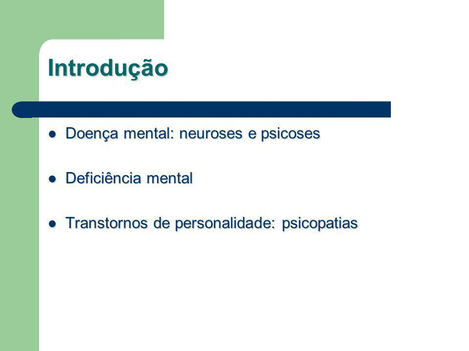 Introdução Doença mental: neuroses e psicoses Deficiência mental
