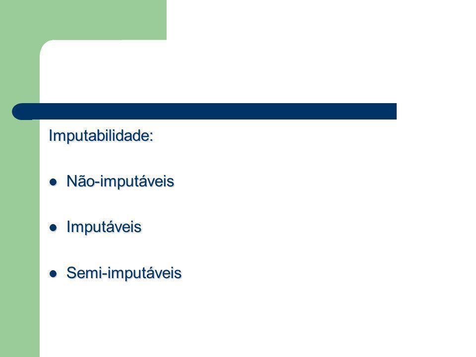Imputabilidade: Não-imputáveis Imputáveis Semi-imputáveis
