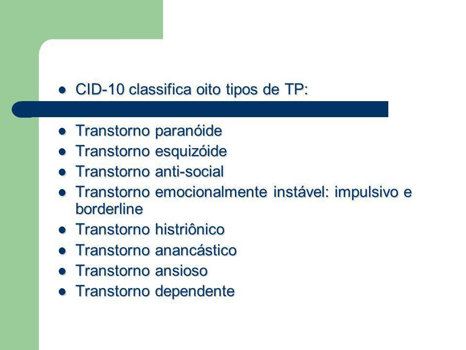 CID-10 classifica oito tipos de TP: