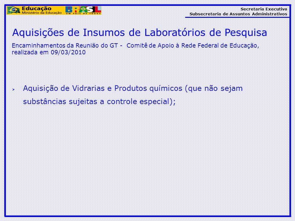 Aquisições de Insumos de Laboratórios de Pesquisa