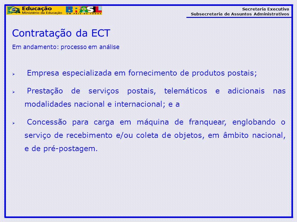 Contratação da ECT Em andamento: processo em análise