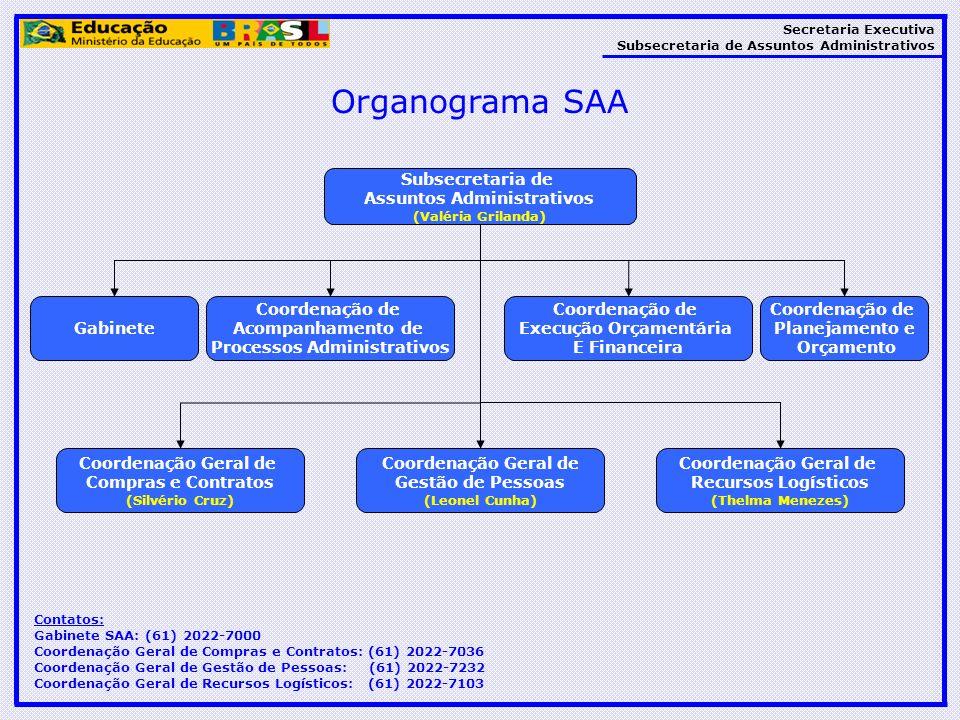 Organograma SAA Subsecretaria de Assuntos Administrativos Gabinete