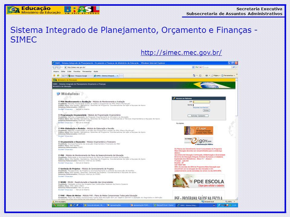 Sistema Integrado de Planejamento, Orçamento e Finanças - SIMEC