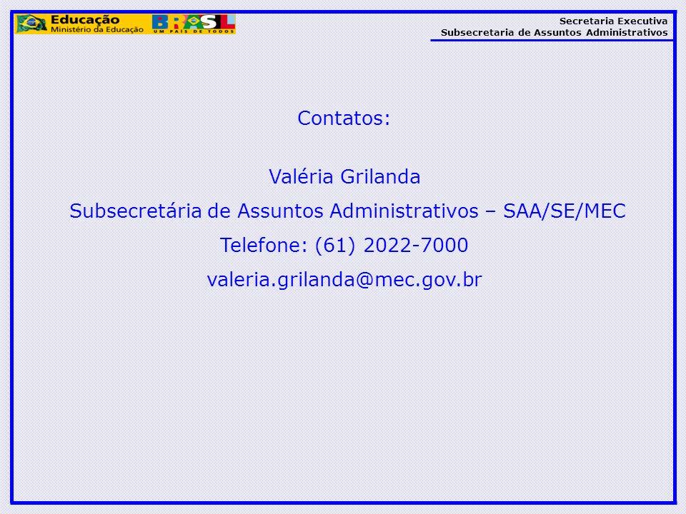 Subsecretária de Assuntos Administrativos – SAA/SE/MEC